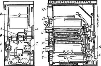 Рис. 13.3.  Автоматический газовый емкостный водонагреватель АГВ-80М.  В АГВ-120 (вместимость бака 120 л, тепловая...
